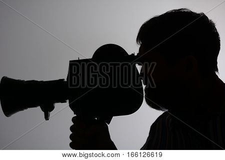 Silhouette Of Man Camera Side