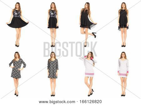 Collage of pretty girls shoppers in modern dresses
