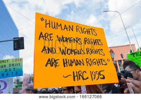 Activist Holds A Sign About Human Rights