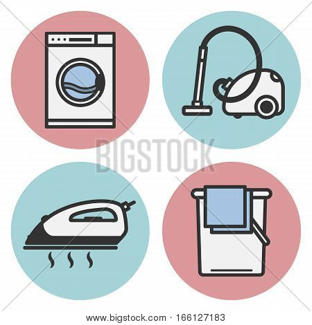 Set Of Vector Icons Of Laundry In A Flat Style. Icon Iron, Washing Machine, Vacuum Cleaner, A Bucket