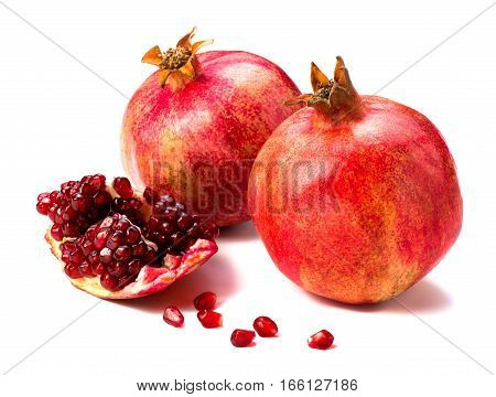 Pomegranate fruit isolated on white background. Fruit. A slice of pomegranate.