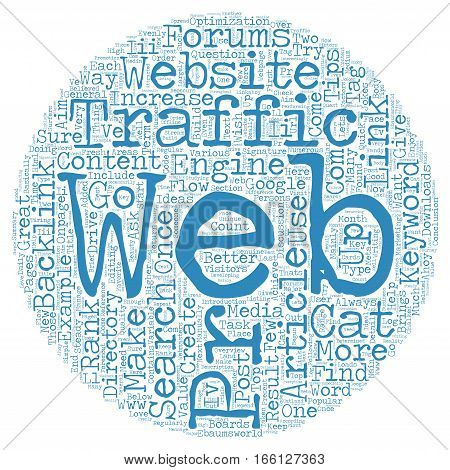 How to increase web traffic daily text background wordcloud concept