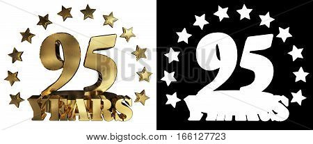 Golden digit ninety five and the word of the year decorated with stars. 3D illustration