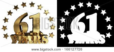 Golden digit sixty one and the word of the year decorated with stars. 3D illustration