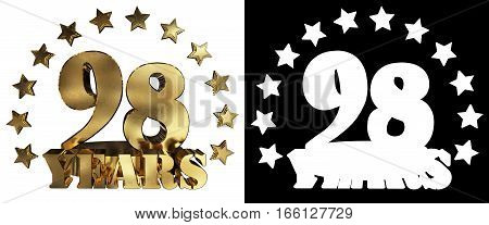 Golden digit ninety eight and the word of the year decorated with stars. 3D illustration