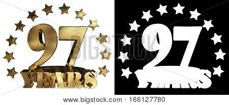 Golden digit ninety seven and the word of the year decorated with stars. 3D illustration