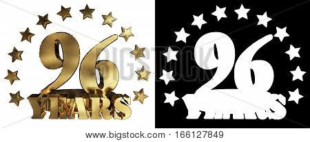 Golden digit ninety six and the word of the year decorated with stars. 3D illustration