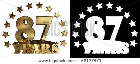 Golden digit eighty seven and the word of the year decorated with stars. 3D illustration