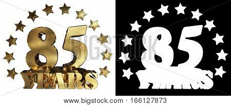 Golden digit eighty five and the word of the year decorated with stars. 3D illustration