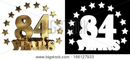 Golden digit eighty four and the word of the year decorated with stars. 3D illustration