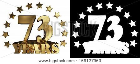 Golden digit seventy three and the word of the year decorated with stars. 3D illustration