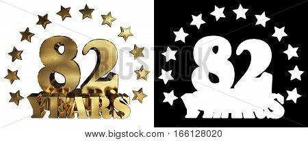 Golden digit eighty two and the word of the year decorated with stars. 3D illustration