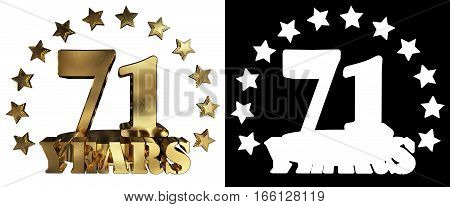Golden digit seventy one and the word of the year decorated with stars. 3D illustration
