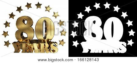Golden digit eighty and the word of the year decorated with stars. 3D illustration