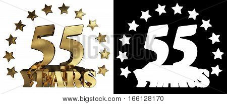 Golden digit fifty five and the word of the year decorated with stars. 3D illustration