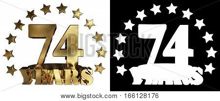 Golden digit seventy four and the word of the year decorated with stars. 3D illustration