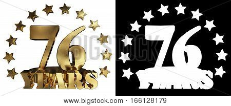 Golden digit seventy six and the word of the year decorated with stars. 3D illustration