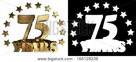 Golden digit seventy five and the word of the year decorated with stars. 3D illustration