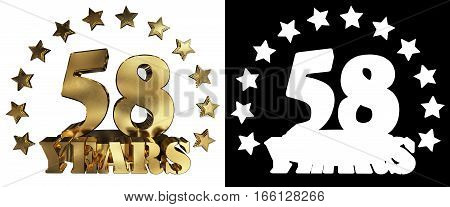 Golden digit fifty eight and the word of the year decorated with stars. 3D illustration