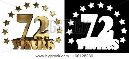 Golden digit seventy two and the word of the year decorated with stars. 3D illustration