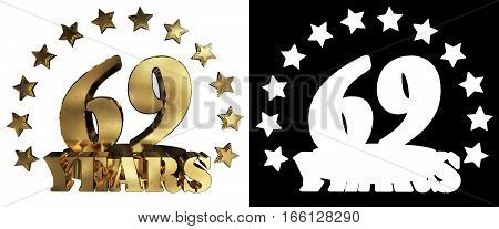 Golden digit sixty nine and the word of the year decorated with stars. 3D illustration