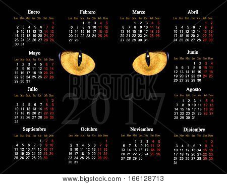 beautiful black calendar for 2017 with cat eyes in Spanish