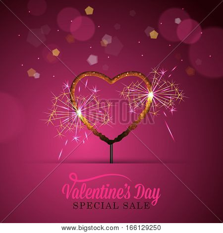 Valentines Day Banner Design With Heart Shape Sparkler. Social Media Special Sale Promotion