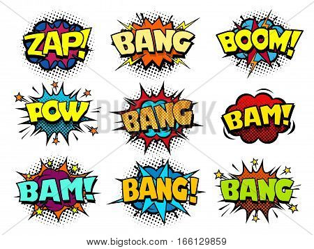 Comic speech bubbles, cool blast and crash sound effect, halftone print texture imitation