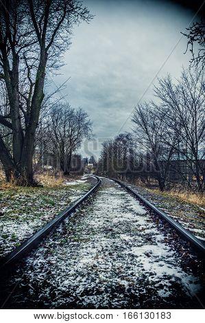 Old Railroad in city, Estonia Tallinn, district kopli