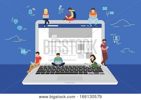 Social network web site surfing concept illustration of young people using mobile gadgets such as smartphone, tablet and laptop to be a part of online community. Flat guys and women on big notebook with symbols