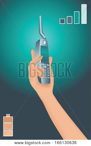 Sat phone in woman's hand. Portable satellite phone with antenna. Vector illustration.