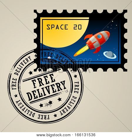 Post stamp with rocket in the space and grunge stamp with text Free delivery