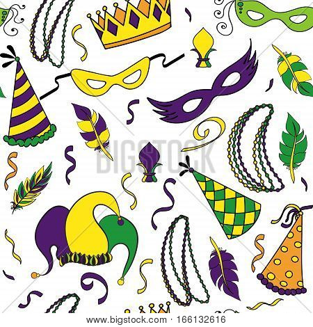 Mardi Gras seamless pattern. Colorful background with carnival mask and hats, jester's hat, crowns, fleur de lis, feathers and ribbons. Vector illustration