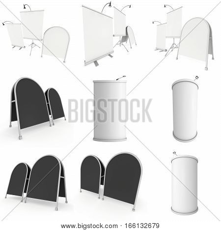 Blank Roll Up Expo Banner Stand Group and Sandwich board set. Trade show booth white and blank. 3d render illustration isolated on white background. Template mockup for your expo design.