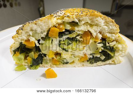 Close up of homemade baked vegetable bread loaf