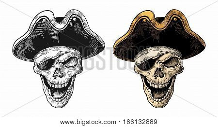Skull in pirate clothes eye patch and hat smiling. Color and black vintage engraving vector illustration. For poster laser engraver and tattoo biker club. Isolated on white background
