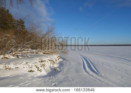 Beautiful winter view on Vselug lake. Penovskiy district Tver oblast Russia.