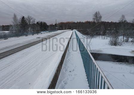 On the bridge over Zapadnaya Dvina (Daugava) river near Okhvat lake Penovskiy district Tver oblast Russia