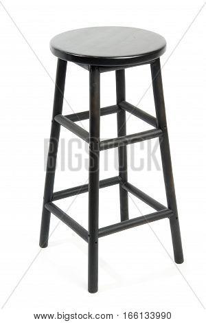 Black wooden bar stool isolated on white background