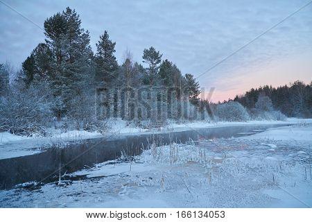 Hoarfrost view of Zapadnaya Dvina (Daugava) river near Okhvat lake Penovskiy district Tver oblast Russia