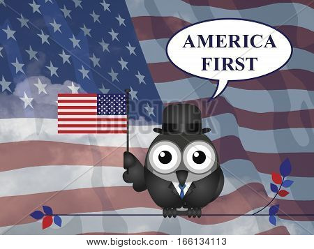 America First presidential inauguration pledge against a the national flag