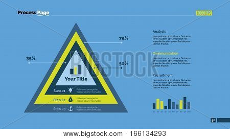 Three overlapping triangles percentage chart. Business data. Comparison, diagram, design. Concept for infographic, presentation, report. Can be used for topics like analysis, statistics, research.