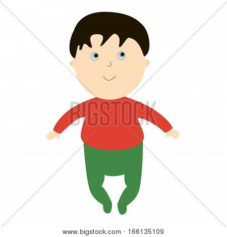 Infant boy smile. Illustration with the kid on a white background. Cartoon children character.
