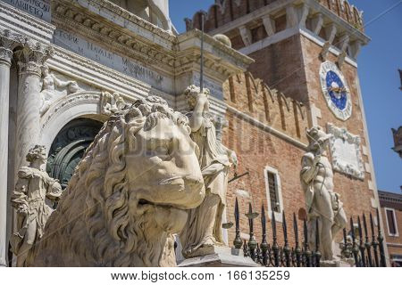 The Piraeus Lion is one of four lion statues on display at the Venetian Arsenal, where it was displayed as a symbol of Venice's patron saint, Saint Mark.