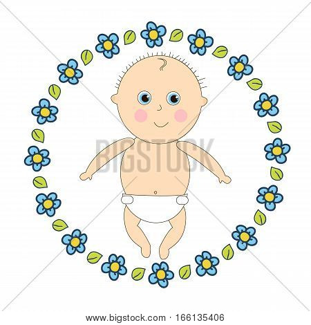 Newborn in diapers. Little baby in a round frame of flowers.