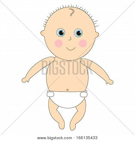 Newborn in diapers. Little baby in a simple flat style. Illustration with the kid on a white background. Cartoon children character.