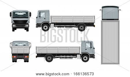 Work truck template. Vector isolated lorry on white. The ability to easily change the color. All sides in groups on separate layers. View from side back front and top.