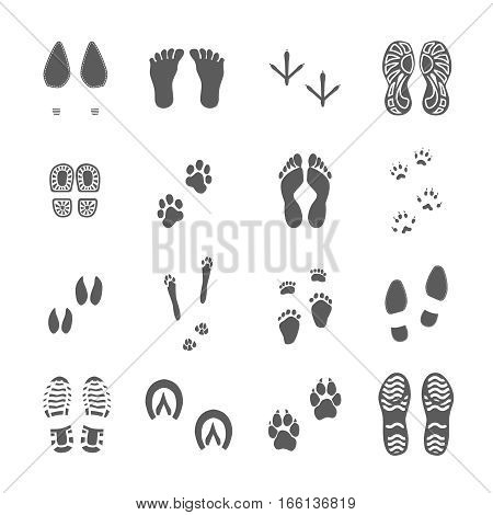 Human footwear and soles imprints birds feet and animal paws black prints collection white background vector illustration