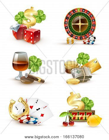 Casino luck symbols and games attributes 6 icons set  with roulette wheel aces poker chips isolated vector illustration