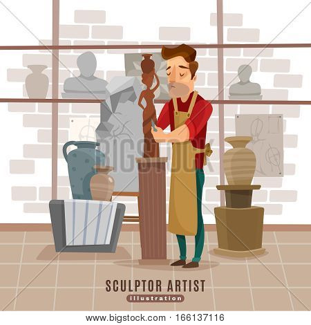 Visual plastic arts studio creative process with sculptor carving and modelling work cartoon style abstract vector illustration